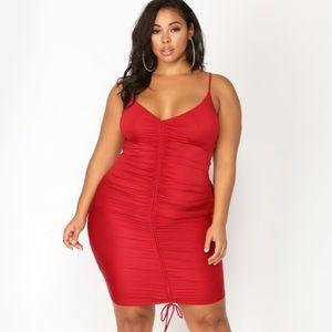 Ruched spaghetti strap dress